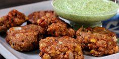 Refried Bean Pakoras with Cilantro Coconut Chutney