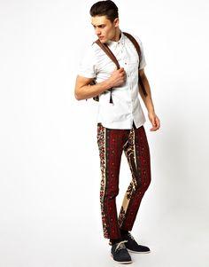 Asos Bite By Dent De Man Floral Print Pants in Red for Men (Beigeredfloral) | Lyst