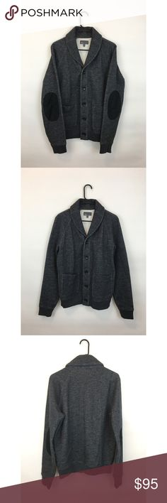 Vince. Gray Shawl Cardigan with Elbow Patches Like new condition! Button up shawl cardigan by Vince. Dark gray sweater with black elbow patches. Great for fall and winter. Vince Sweaters Cardigan