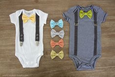 Onesie with suspenders and bow tie