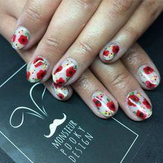 Hand painted flowers. Nail Art. By Monsieur Pooky Design.