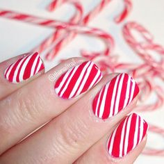 Candy Cane Manicure for Christmas