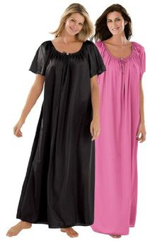 """#FashionBug Plus Size 2-Pack #Nightgown .  Our silky tricot has the best quality and softness for the price. The best fitting plus size nightgowns. Silky tricot gown 2-pack Shirred at scoop neck for roomy ease Flutter sleeves Bow and rosette trim 53"""" long Washable nylon tricot knit. USA and imported Women's plus size nightgown and plus size sleepwear  in sizes M(14W-16W), L(18W-20W), 1X(22W-24W), 2X(26W-28W), 3X(30W-32W), 4X(34W-36W), 5X(38W-40W), 6X(42W-44W)"""