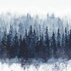 Chic 'Indigo Forest' Graphic Art Print on Wrapped Canvas by Union Rustic Wall Art Decor from top store Painting Prints, Wall Art Prints, Framed Prints, Canvas Prints, Painting Canvas, Rock Painting, Indigo, Navy Wallpaper, Wallpaper Roll
