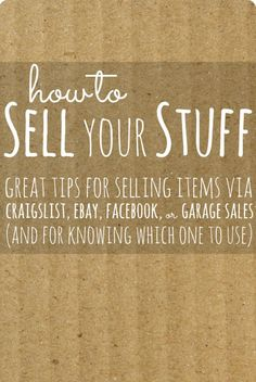Tips on de-cluttering: various ways to sell your old clutter for cash.