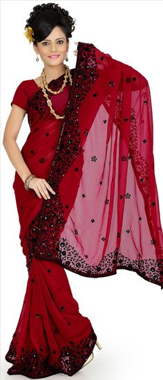 #Red Faux georgette #Saree With #Blouse @ $29.89