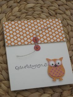 Eule Owl Card, Owl Punch, Stampin Up, Scrap, Birds, Diy Crafts, Crafty, Paper, Inspiration