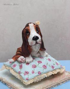 3D cake Basset on the cake-pillow. Shabby chic style - Cake by Galina Maslikhina