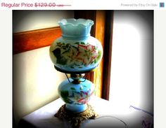 Vintage Table Lamp   GWTW Style  Blue Floral  by AlluringAntiques, $79.00