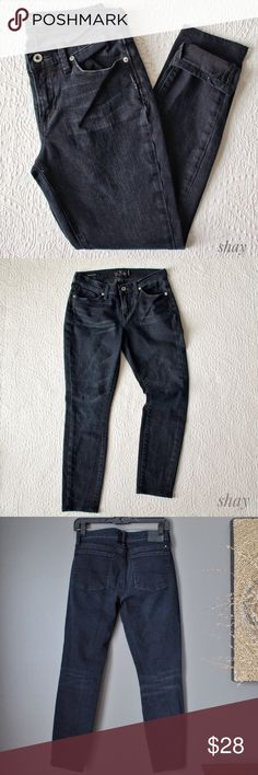 """W 4/27 Brooke Skinny Black Cropped Denim Waist 14"""", Hip 18"""", Inseam altered to 26"""", thigh 9.25, Calf 6.5"""". Brooke Skinny is a slim fit that fits straight through hip and thigh. (Last pic of Brooke Jegging but same fit). SIDE NOTE: Did you know denim is one of the best things to buy used?  It's already broken in and you can get it for a fraction of the retail cost. It also one of the hardest things to buy without trying on. Make sure you have current measurements of your waist, hips, thighs…"""