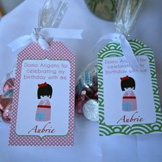 Kokeshi Party- hang tags for favors- print your own