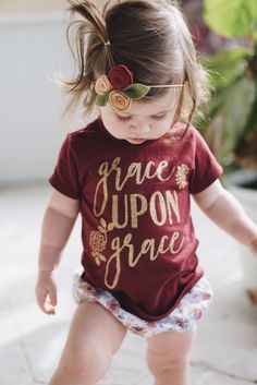 Scripture Shirt for girls - Girl's Bible shirt - Grace Upon Grace - Girls Christian Shirt - Christmas gift for girl - Faith Based Kids Shirt by SweetPeonyBoutique on Etsy https://www.etsy.com/listing/483959355/scripture-shirt-for-girls-girls-bible