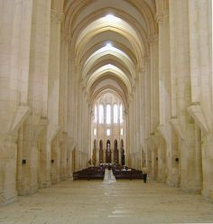 Alcobaça monastery, roman style, was founded in 1153. The church was the first gothic style construction in #Portugal