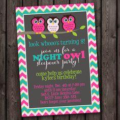 FAST SHIP sleepover invitation slumber party door AmysSimpleDesigns