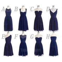 Navy bridesmaid dresses, cheap bridesmaid dresses, chiffon bridesmaid dresses, short bridesmaid dress, custom bridesmaid dresses, 16327