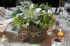 Summer centerpiece wrapped in burlap