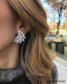Forget about arm candy we are totally loving this ear candy Diamond Studs, Diamond Jewelry, Diamond Earrings, Stud Earrings, Bridesmaid Jewelry, Bridal Jewelry, Wedding Earrings, Sea Glass Jewelry, Designer Earrings