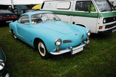 vw karmann ghia  - I used to want one of these - only pink.  Now I'd take the blue