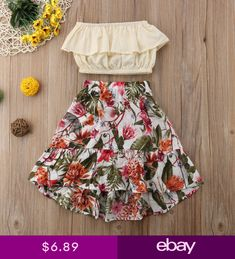 Aliana Off-Shoulder Floral Outfit Little Girl Summer Dresses, Girls Summer Outfits, Kids Outfits, Girls Dresses, Summer Clothes, Outfit Summer, Floral Skirt Outfits, Floral Skirts, Dress Outfits