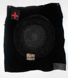 'Christine Mauersberger: Black skirt, 2010 | found black wool skirt, felted and stitched, cotton/silk thread, eco-dyed silk patch - Stitching (and the limited palette)     '