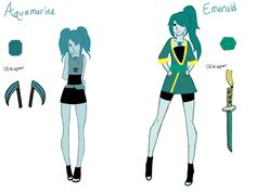 These are my Steven universe ocs  Aquamarine is my new oc  I just updated Emerald's style cause I didn't like the other designs  Feel free to repin Or draw my ocs but give credit