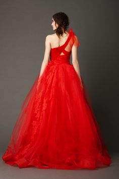 Red One-Shoulder Gown (Back View)
