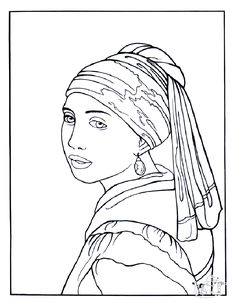 Coloring Vermeer Young Woman Pearl From The Gallery Kids Art