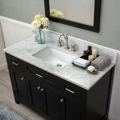 Alya Bath Norwalk 48 in. Single Bathroom Vanity in Espresso with Carrera Marble Top - Modern Rustic Bathrooms, Grey Bathrooms, Tiled Bathrooms, Craftsman Bathroom, Master Bathrooms, Single Bathroom Vanity, Small Bathroom, Bathroom Vanities, Ikea Bathroom