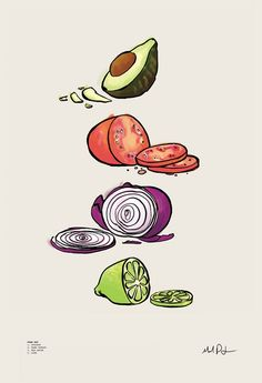 Guacamole, an art print by Mal Jones Plant Illustration, Botanical Illustration, Graphic Illustration, Guacamole, Calming Pictures, Planet Tattoos, Food Drawing, Food Illustrations, Food Art