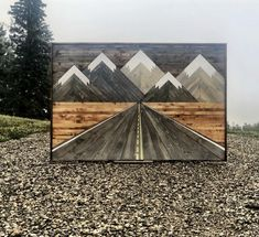 Original Birch Road 6 x 4 FEET Road to the Rocky Mountains by Birch Road Designs. Mountain wood art road leading to the Mountains,Road to the Rocky Mountains by Birch Road Designs. Mountain wood art road leading to the Mountains, Reclaimed Wood Wall Art, Wooden Wall Art, Diy Wall Art, Barn Wood, Wood Wall Art Decor, Art On Wood, Scrap Wood Art, Wood Artwork, Diy Wood Projects