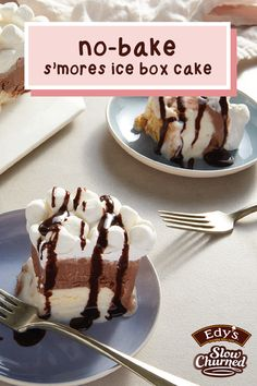 Even though it's pumpkin spice season, who says you can't enjoy your favorite summer flavor combination? This recipe for No-Bake S'mores Ice Box Cake makes it easy to bring together iconic chocolate, marshmallow, and graham cracker. Click to see how Edy's Slow Churned light ice cream in chocolate and vanilla plays its role in this delicious dessert! Easy Desserts, Delicious Desserts, Icebox Cake, Cupcake Cakes, Cupcakes, Chocolate Flavors, Graham Crackers, How To Make Cake, Marshmallow