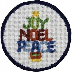 A needlepoint Christmas ornament kit from the Stitch Ups range called Joy Noel Peace. These affordable needlepoint ornament kits by Alice Peterson Co are quick and easy to stitch and finish yourself. The kits come with everything you need. Needlepoint Belts, Needlepoint Stockings, Needlepoint Stitches, Needlepoint Pillows, Needlepoint Canvases, Needlework, Needlepoint Christmas Stocking Kits, Cross Stitch Christmas Ornaments, Christmas Sewing