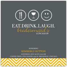 Eat Drink Laugh Bridesmaids Luncheon Invitations | PaperStyle