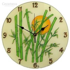 Check out our glass wall clock selection for the very best in unique or custom, handmade pieces from our shops. Wall Clock Silent, Wall Clocks, Bamboo Wall, Thing 1, Everyday Objects, Mandala, Hand Painted, Modern, Glass