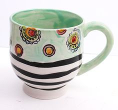 Hand Painted Ceramic Mug - Big mug - Mix and Match Pottery