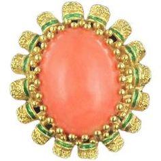 Francouzský korálový zelený smalt zlatý prsten 1960