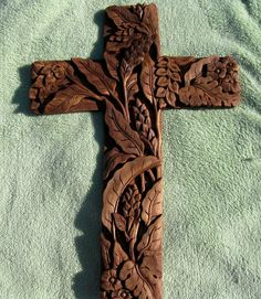 "Carved Wood Cross Floral Wheat High Relief Ornate Christian Vintage 13"" X 9"""
