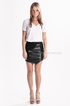 otto mode rock in leather skirt - black