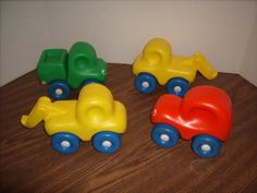 4 Vintage Little Tikes First Wheels Chunky Red Car Yellow and Green Trucks | eBay