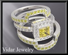welcome to Vidar Jewelry by Roi Avidar! specializing in custom diamond & gemstone, engagement rings & wedding rings sets.   Do you want to see a smile on her face? with this beauty Yellow Sapphire And Diamond Wedding Ring Set Ring she will smile all day long!   **we can customize this ring to...