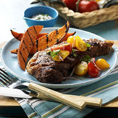 More affordable steak cuts like top sirloin or flat iron taste great with this tangy tomato topper, too. For a perfect meal, pair the steak with Grilled Sweet Potato Wedges.