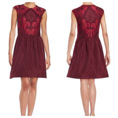 """🎉HP 01/2017🎉Fit and Flare Lace Bodice Red Dress Floral lace highlights this shapely fit and flare. Round neck and cap sleeves. Pleated skirt and concealed back zipper. About 22"""" from natural waist. Polyester/spandex . Lord & Taylor Dresses"""