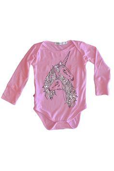 Long sleeve Onesie, Pink Unicorns