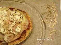 Pizza de avena, sin harina, apta para cualquier dieta.....la pizza de las pinuinas!!!