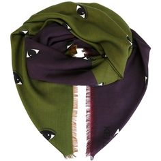 Kenzo Eyes Scarf ($331) ❤ liked on Polyvore featuring accessories, scarves, green, kenzo scarves, green scarves, green shawl and kenzo