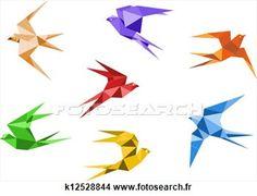 Origami, hirondelles Voir Illustration Grand Format
