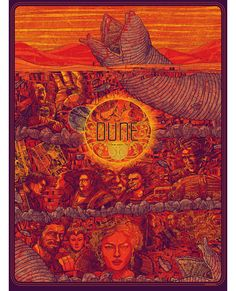 Dune Poster by Kevin Tong. 18 x 24 inches, screen printed on 100 lb Lemon Drop French Cover Paper in an edition of They are all signed and numbered by Kevin Tong Book Posters, Movie Poster Art, Art Posters, Dune Series, Dune Frank Herbert, Dune Art, Pop Culture Art, Poster Prints, Art Prints