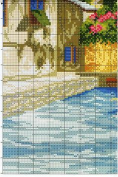 Cross Stitch Landscape, Mosaic Art, Cross Stitch Patterns, House, Appliques, Bookmarks, Bird, Projects, Cross Stitch Pictures