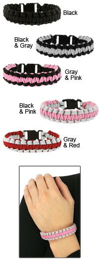 Paracord Survival Bracelet at The Breast Cancer Site Paracord Ideas, Paracord Projects, Paracord Bracelets, Survival Straps, Veterans Site, Jewlery, Jewelry Box, Pink Grey, Purple