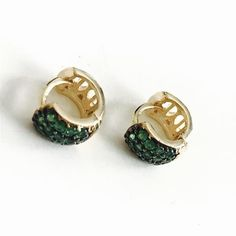 995d8b665 Emerald Crystals Huggies 18kts of Gold plated earrings – Raf Rossi Gold  Plated